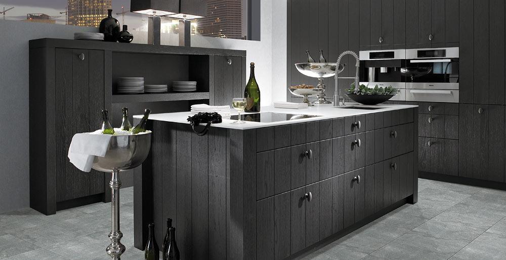 Massief Houten Keuken : Keukenxpert graphiet gelakt massief houten keuken keukenxpert
